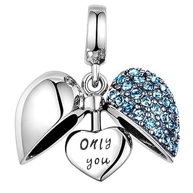 f3edd96e74f Globalwin Jewellery 925 Sterling Silver Love Heart Charms Fit Pandora  Bracelets (Blue Charm)