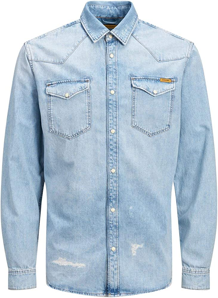 Jack & Jones Jjijames Jjshirt Cj 092 Noos Camisa Vaquera, Azul (Blue Denim Blue Denim), Medium para Hombre: Amazon.es: Ropa y accesorios