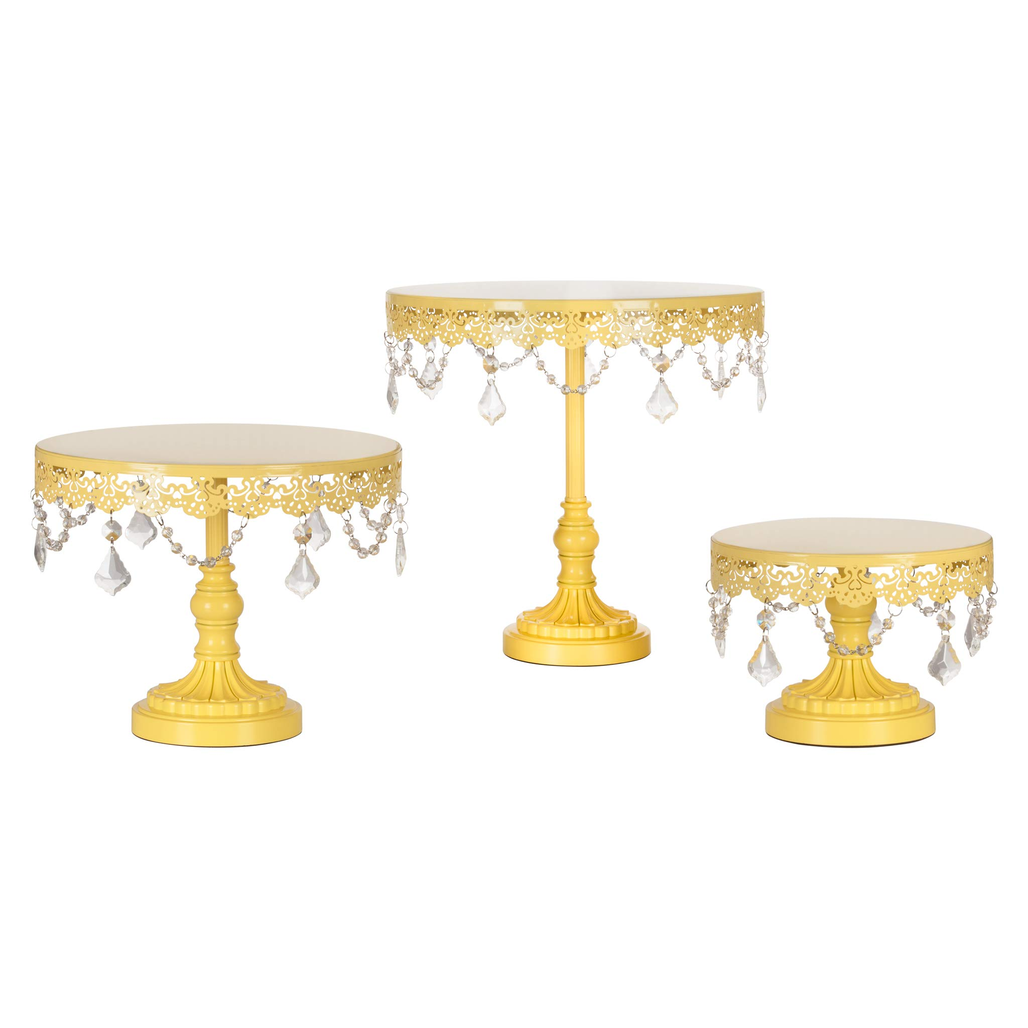 Amalfi Decor Cake Stand Set of 3 Pack, Dessert Cupcake Pastry Candy Display Plate for Wedding Event Birthday Party, Round Metal Pedestal Holder with Crystals, Yellow by Amalfi Décor