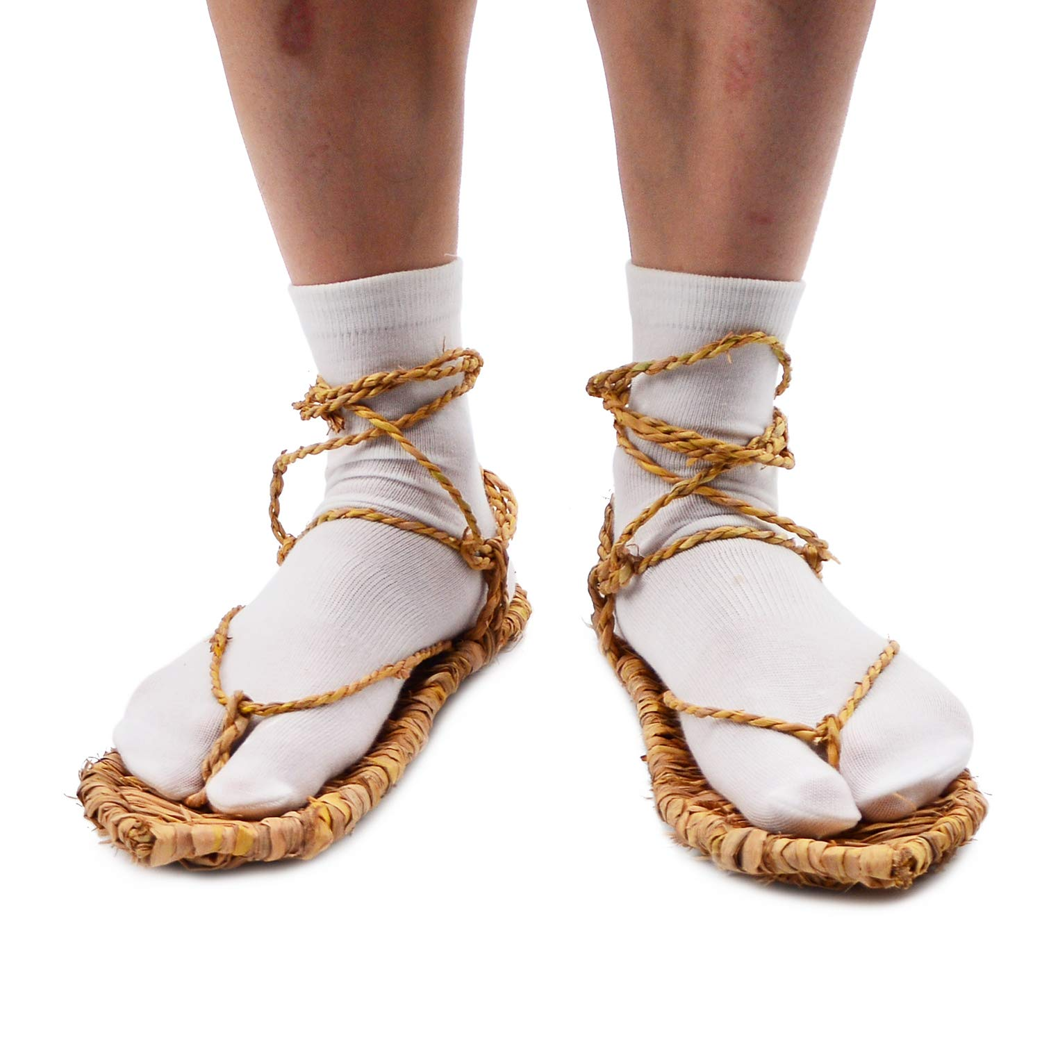 Straw Sandals with 2 Pairs Tabi Socks for Bleach Cosplay M