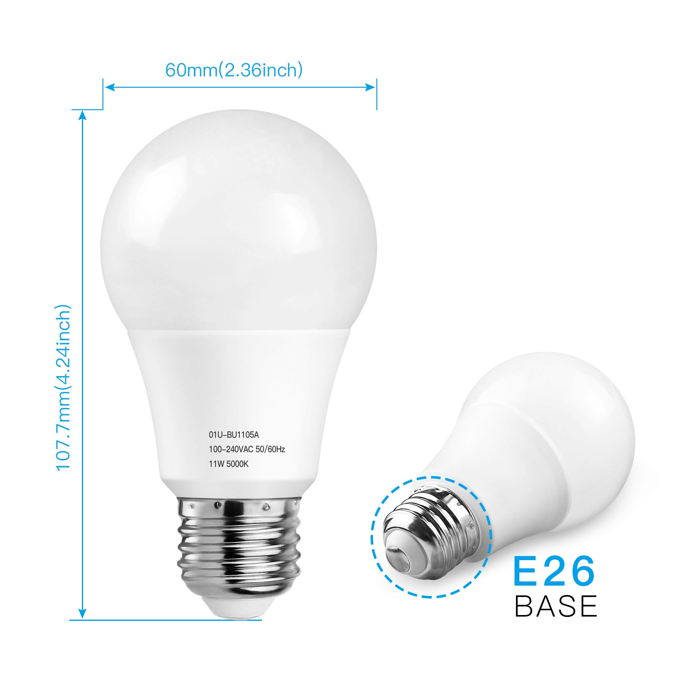 A19 LED Light Bulbs 5000K, 100 Watt Equivalent LED Bulb Daylight White, 1100Lumens, Non Dimmable, Medium Screw Base (E26), CRI80+, 12-Pack by MAXvolador (Image #4)