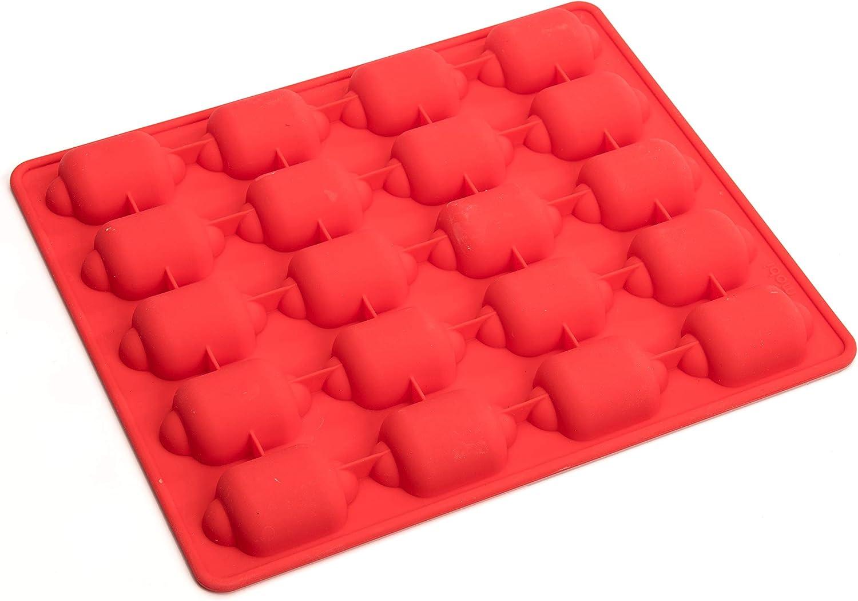 Mobi 12 Hot Dog Bites Sausage Roll Silicone Baking Mold, Red
