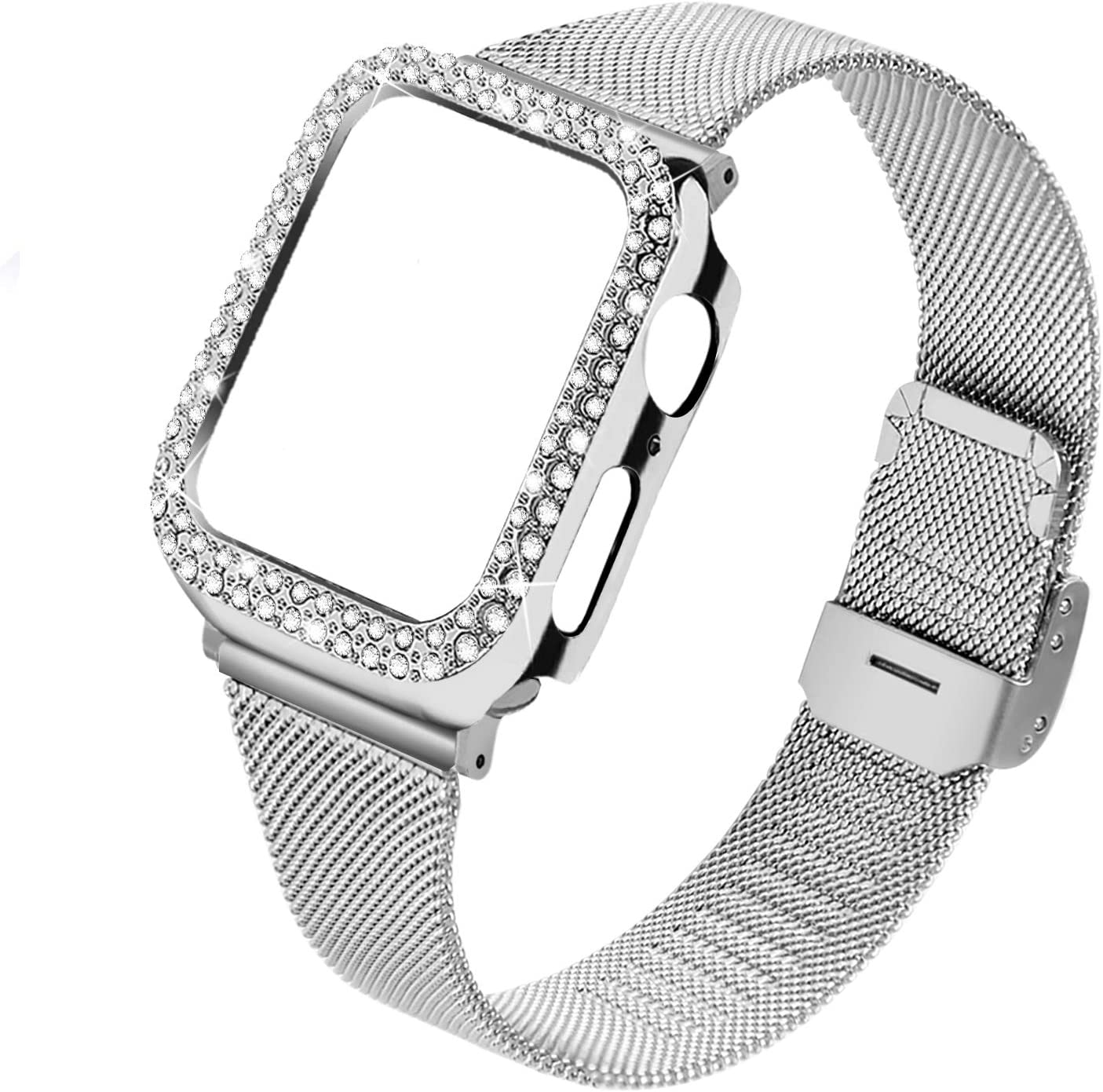 Joyozy Stainless Steel Mesh bands Compatible For Apple Watch 42mm,Women Bling Protective Crystal Diamond Case with Loop Mesh Strap For Apple watch Series 3/2/1(No Tool Needed) (Sliver, 42MM)