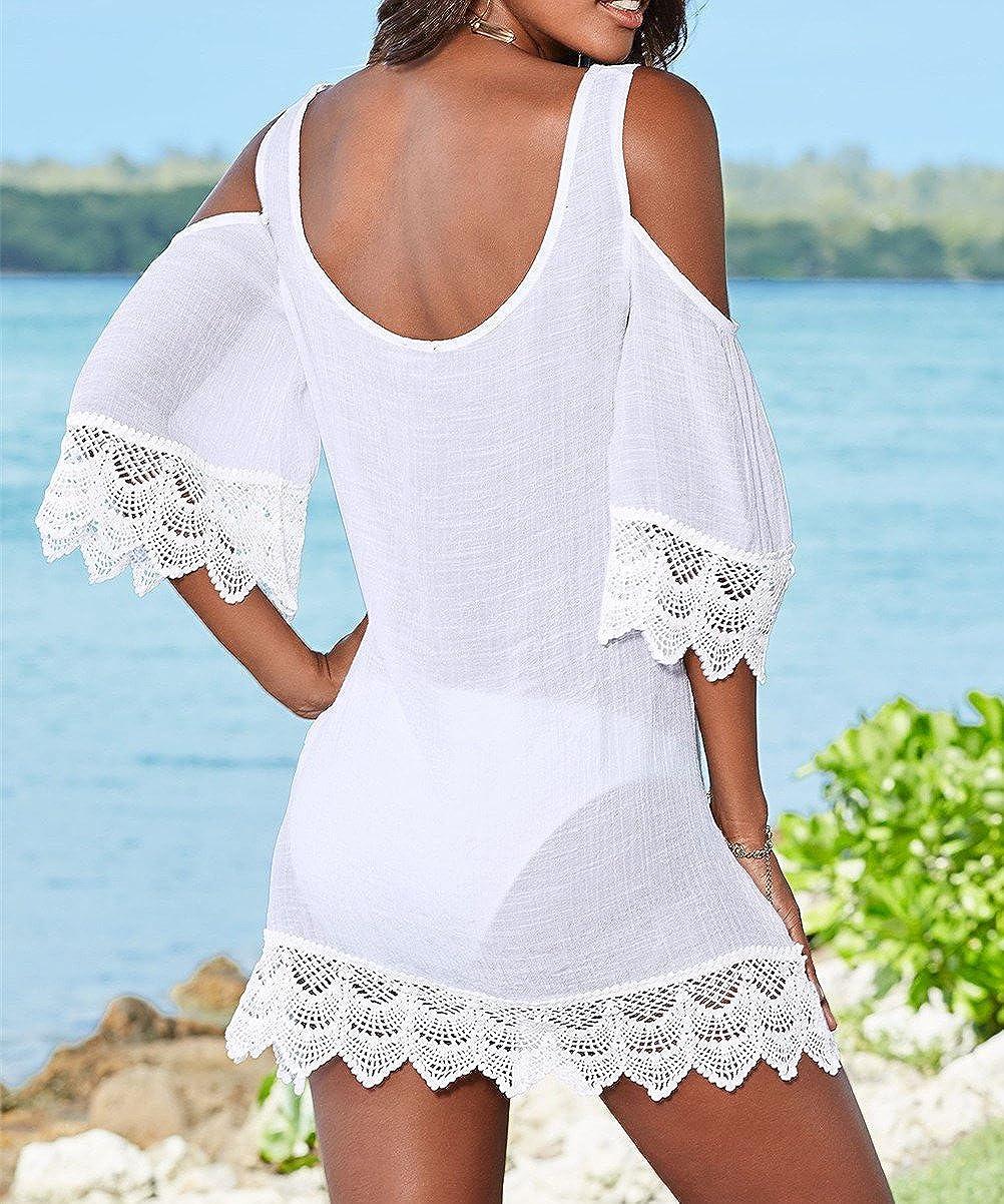 L-Peach Donna Pizzo Floreale Tunica da Spiaggia Parei Copricostume Copribikini Cover Up Beachwear
