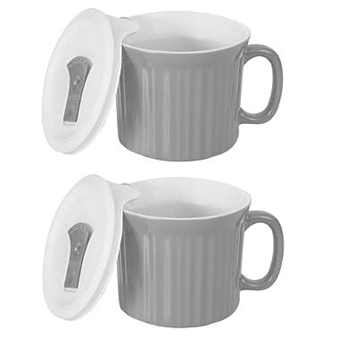 CorningWare Colours Pop-Ins 20-oz Soup Mug with Lid - 2 Pack (Truffle)
