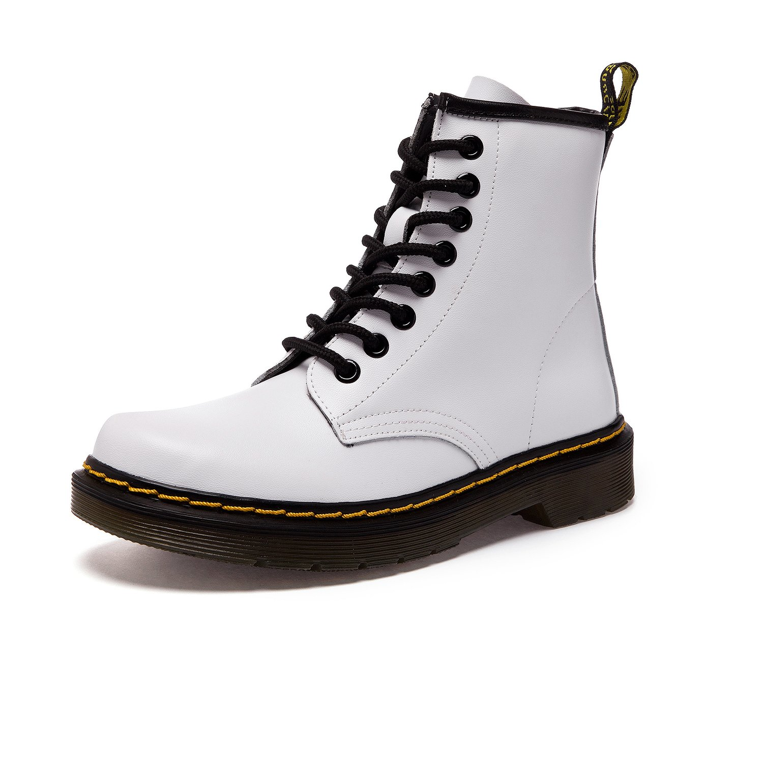 Resonda Women Fashion Leather Ankle Bootie Casual Lace up Short Combat Boots for Winter,White,US 10