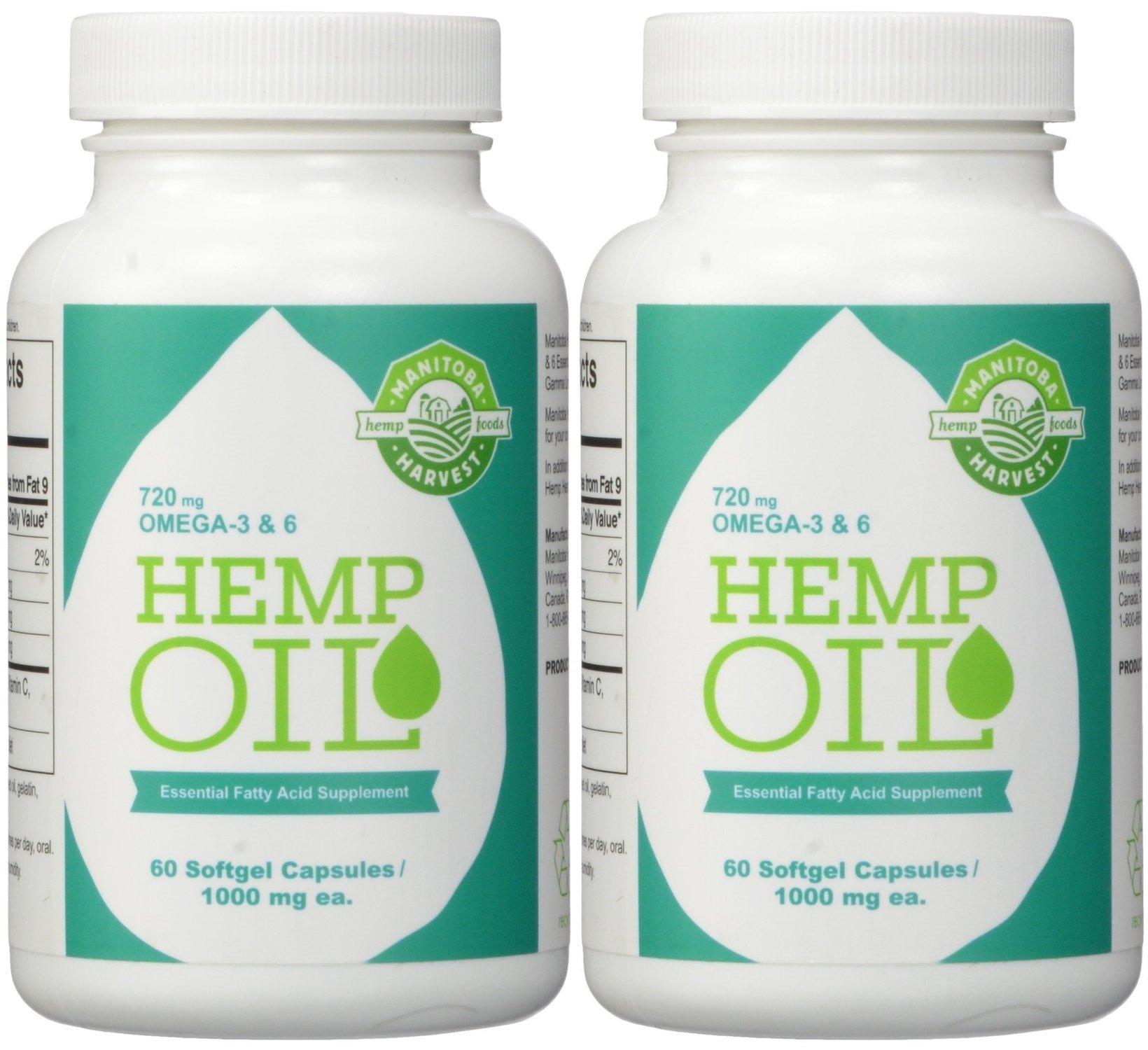 Manitoba Harvest Hemp Foods Hemp Oil Soft Gels, 1000 mg, 60 Count (2 Bottle Pack)