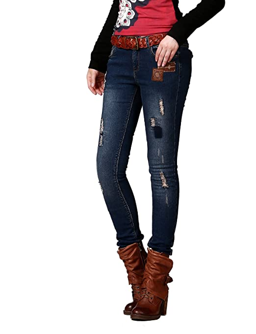 Artka Women's Feather Embroidery Patchwork Cotton Skinny Pencil Jeans  KN16343Q: Amazon.co.uk: Clothing