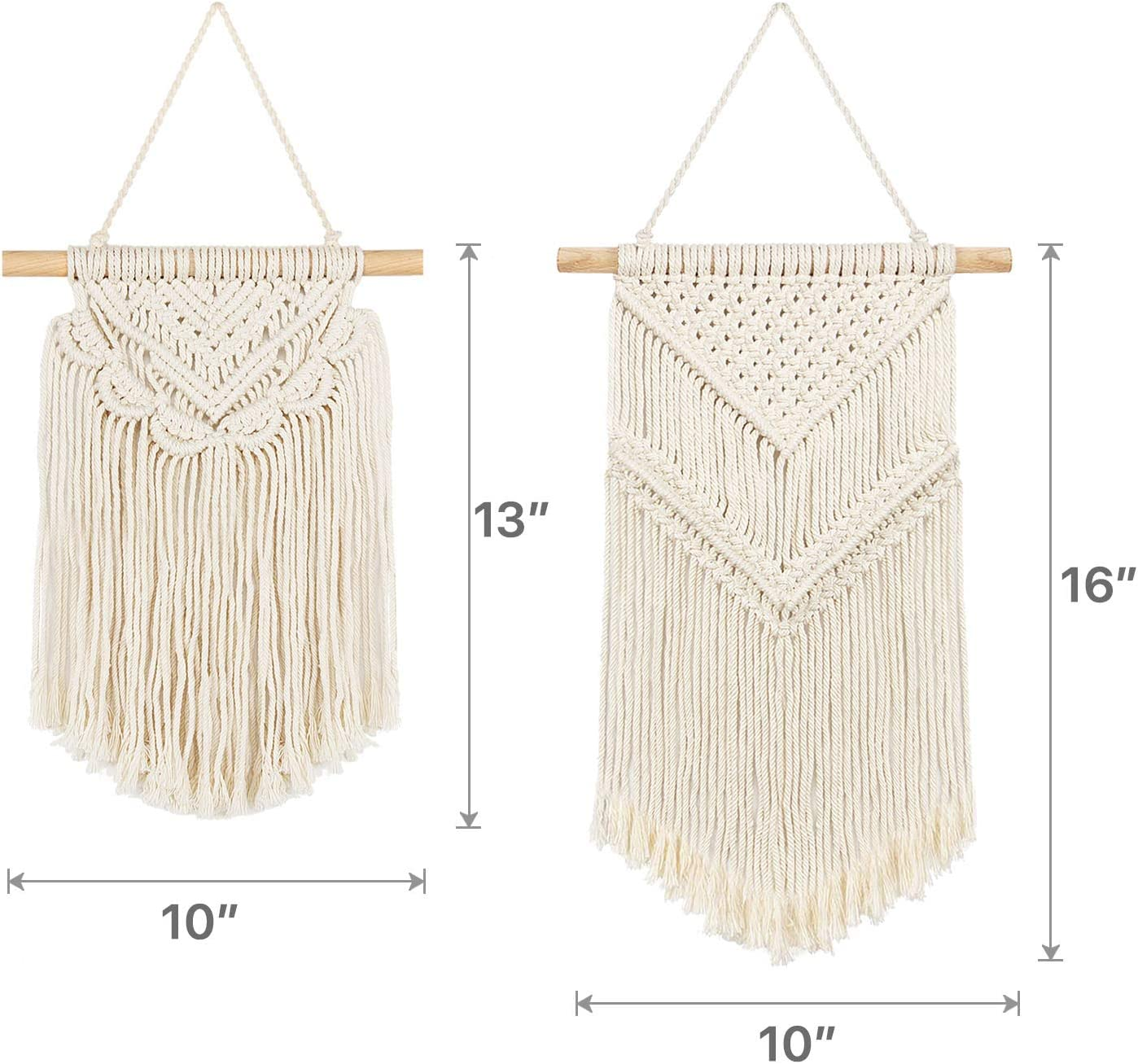 13 L x 10 W and 16 L x 10 W Taufey 2 Pcs Small Macrame Wall Hangings Art Woven Boho Chic Wall Decor Home Decoration for Apartment Bedroom Living Room Hallway