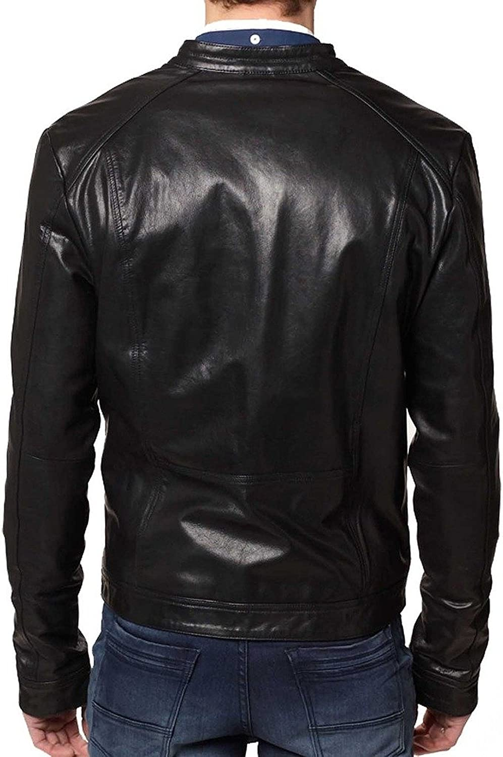 New Mens Leather Jacket Slim Fit Biker Motorcycle Genuine Leather Coat T562
