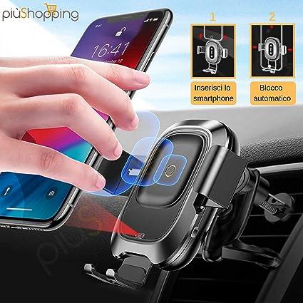 Piushopping Caricatore Wireless Supporto Auto,Qi Ricarica Rapida per Ventole per iPhone XS Galaxy S9//S8////S7//S6,Nero Note 5 11 Max//Xr//X//8//8Plus