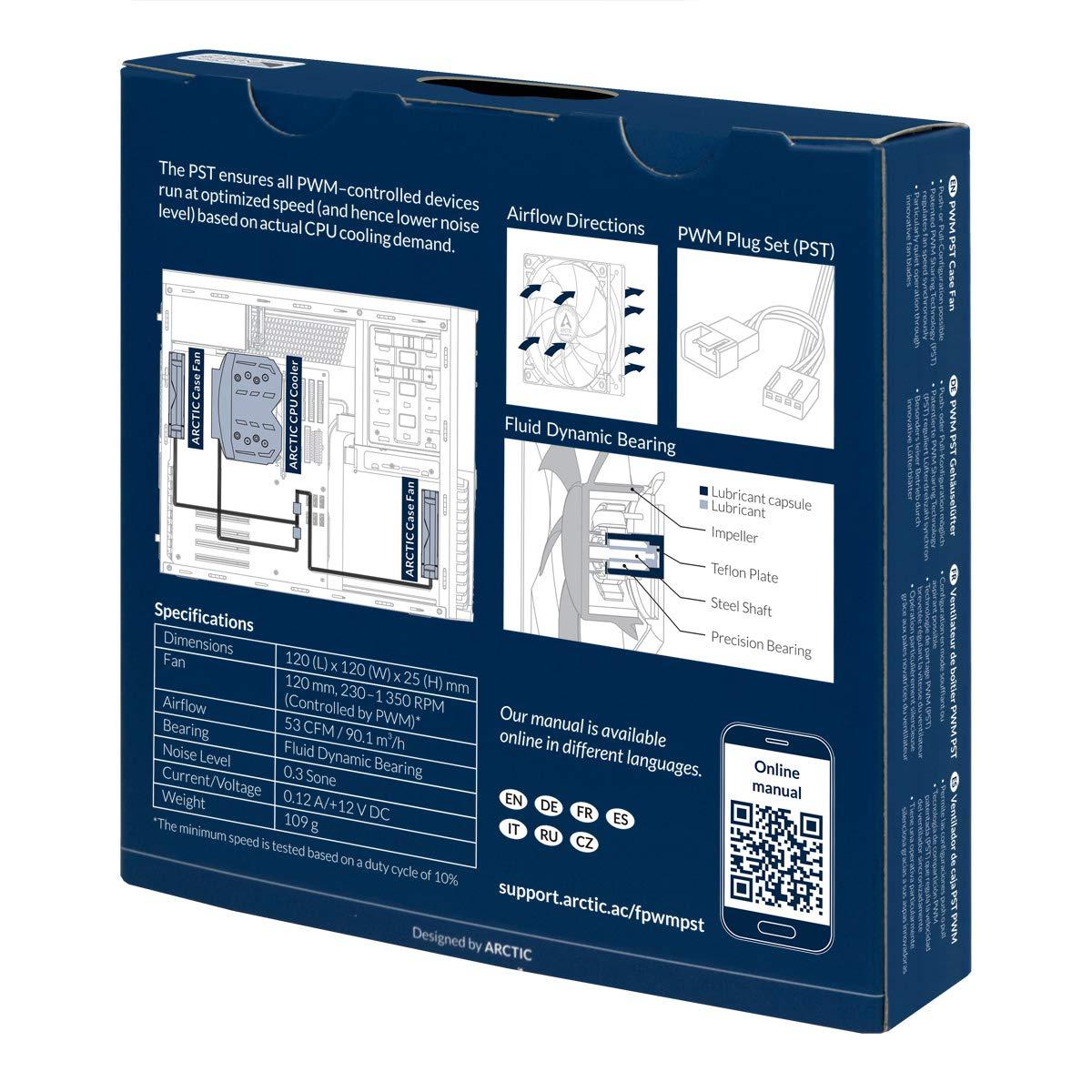 120 mm Fino a 1800 Tr//Min Bianco//Bianco Ventilatore Silenzioso per Cpu ARCTIC P12 PWM Velocit/à Regolata con Tecnologia PWM 0.3 Sone Ventola per Case per Computer Pc