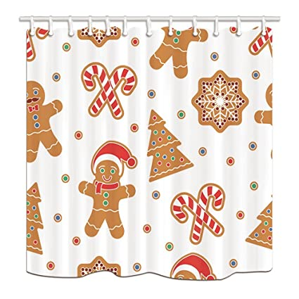 New Year Holiday Shower Curtains For Bathroom Christmas Gingerbread Man Cookies Kids Polyester Fabric Waterproof