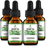 (10,000mg) Organic Hemp Oil Extract - 4 Pack - Organically Grown in USA - Co2 Extraction - Hemp Extract Tincture Drops - Vega