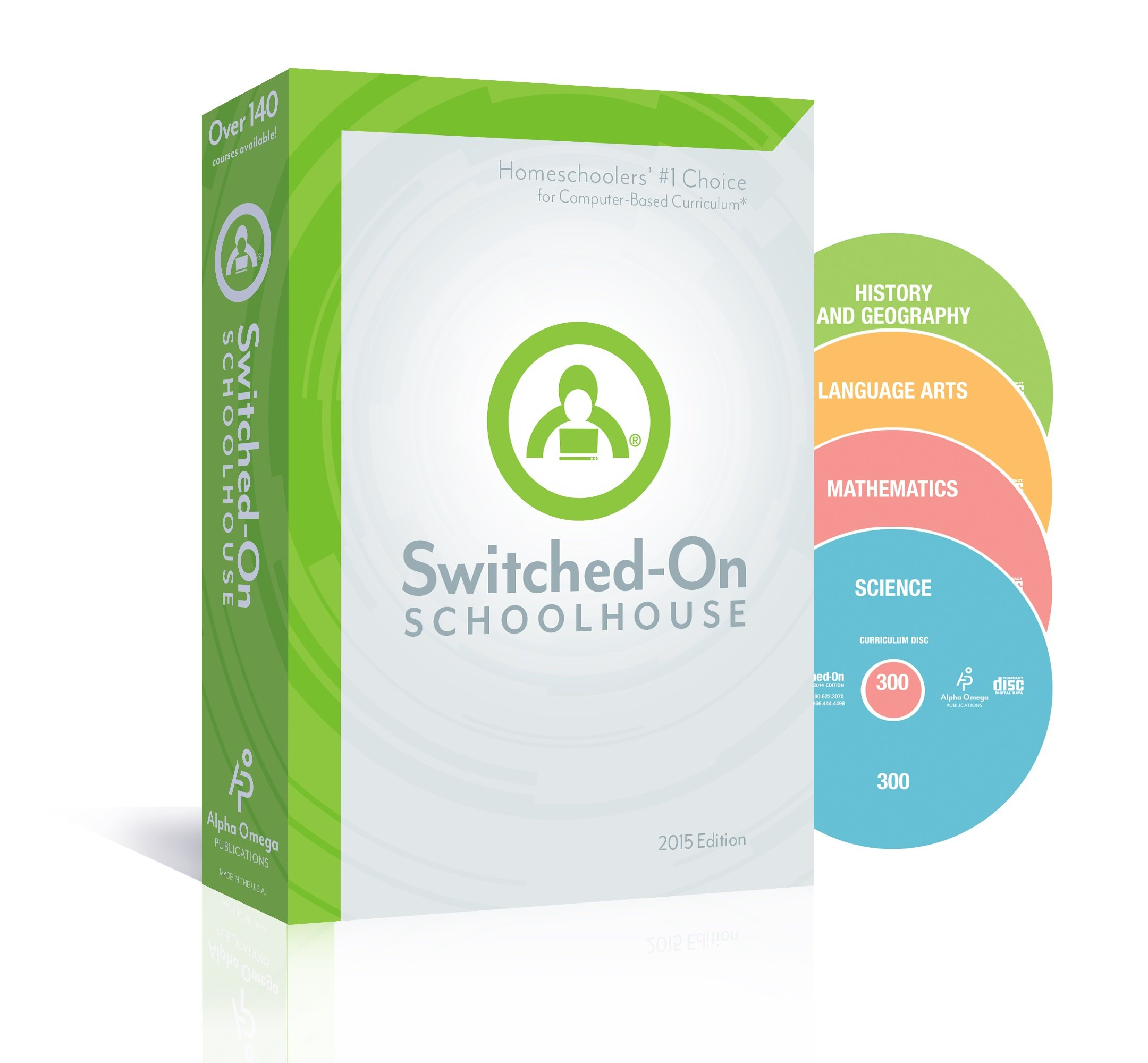2015 Switched on Schoolhouse, Grade 4, AOP 4-Subject Set - Math, Language, Science & History / Geography (Alpha Omega HomeSchooling), SOS 4TH GRADE CD-ROM Curriculum, Core Subject Set
