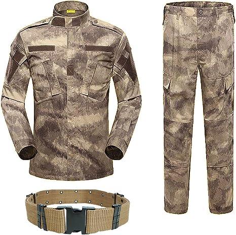 H World EU Militar táctico para hombre, caza, combate, uniforme BDU, camisa y pantalones con cinturón: Amazon.es: Ropa y accesorios