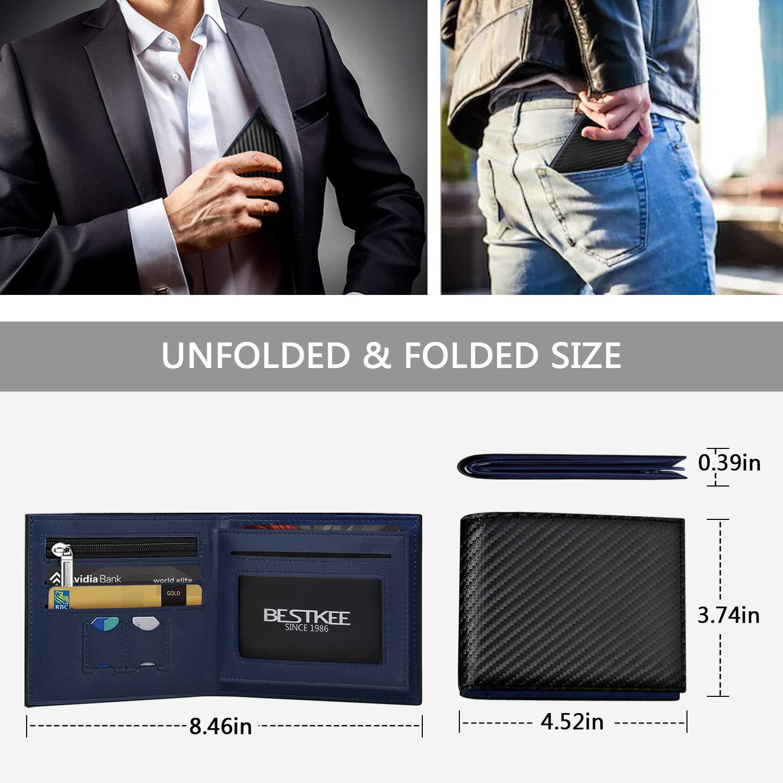 Rfid Wallet Men,Bestkee Slim Front Pocket Leather Wallet,Minimalist Credit Card Holder with 3 RFID Blocking Sleeve /& Gift Box Black /& Blue