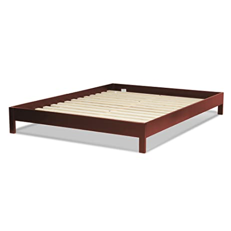 murray platform bed with wooden box frame mahogany finish queen - Wood Frame Bed