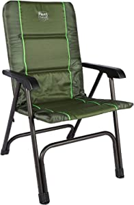 TIMBER RIDGE Portable Full Padded Camping Folding Chair for Outdoor with Carry Bag and High Back, Lightweight Aluminum Frame-Supports up to 300lbs(Green)