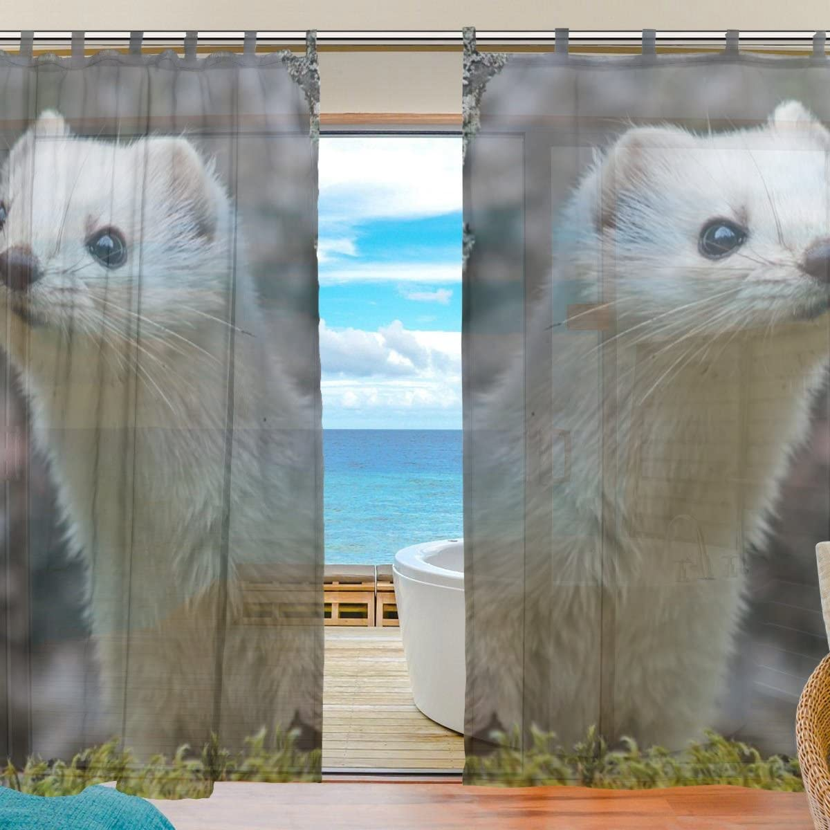 INGBAGS Bedroom Decor Living Room Decorations Ferret Pattern Print Tulle Polyester Door Window Gauze Sheer Curtain Drape Two Panels Set 55×78 inch,Set of 2