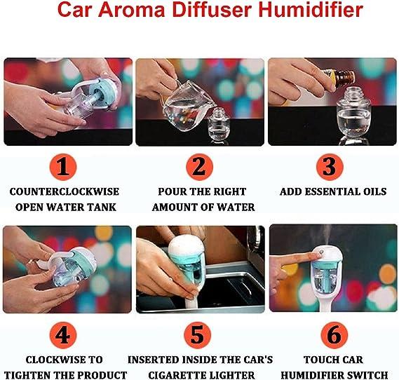 Qrity Auto Aroma Diffuser Ultraschall Luftbefeuchter Humidifier Mit Farbwechsel Auto Shut Off Sicher Und Leise Air Diffuser Reiniger Lufterfrischer Für Autos Beleuchtung