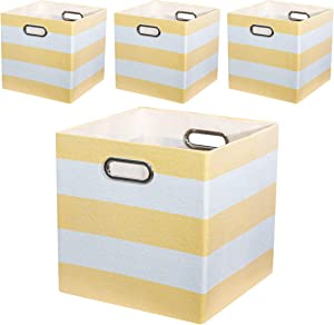 Posprica Storage Bins Storage Cubes -11×11 Foldable Fabric Storage Baskets Organizer Container, 4pcs,Yellow Stripes