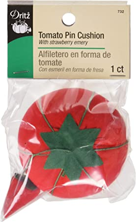 2.75 Tomato Pin Cushion Red with Strawberry Emery