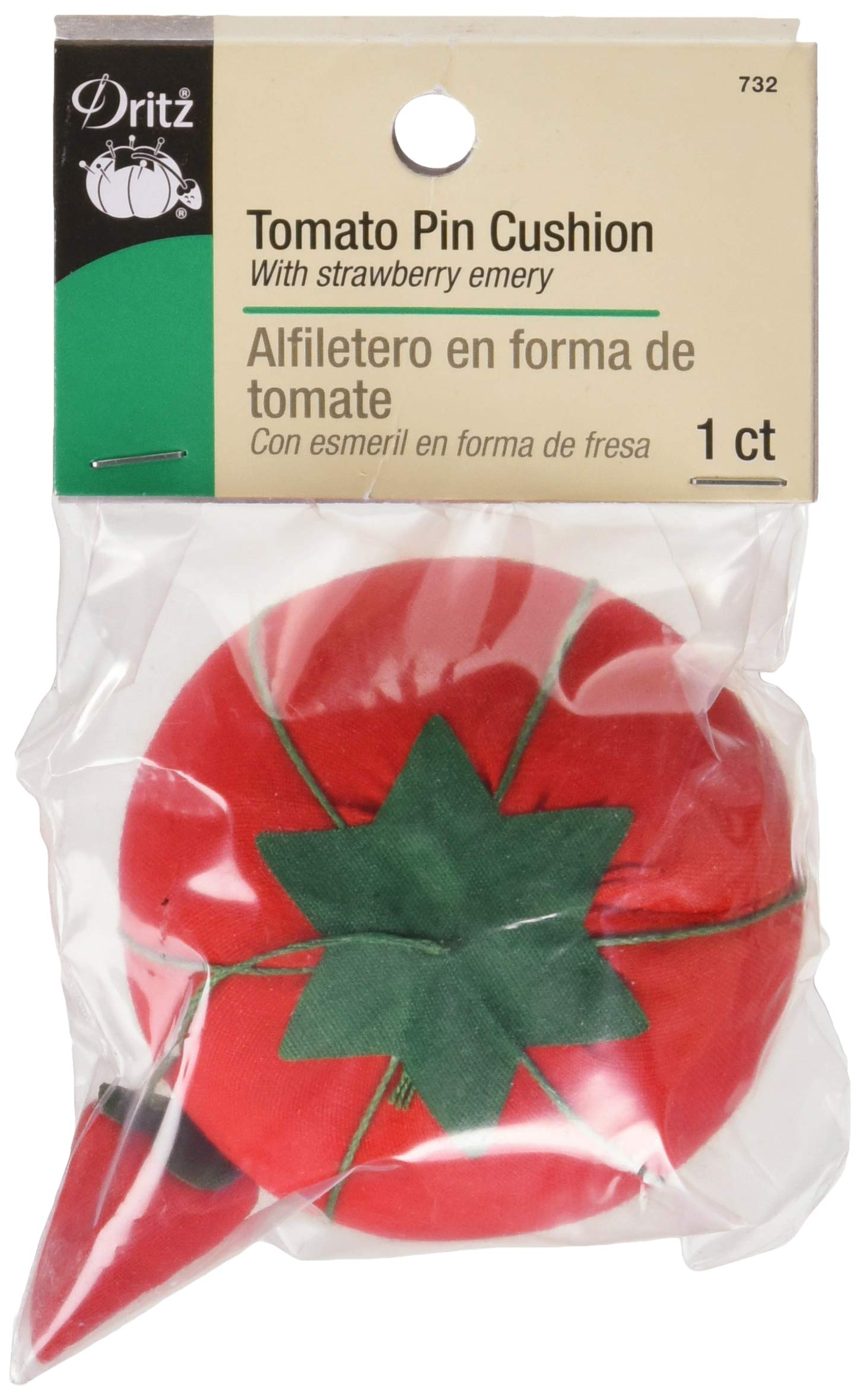 Dritz Bulk Package Tomato Pin Cushion with Emery, Size 2 (3/4-Inch) 24-Pack, Red by Dritz