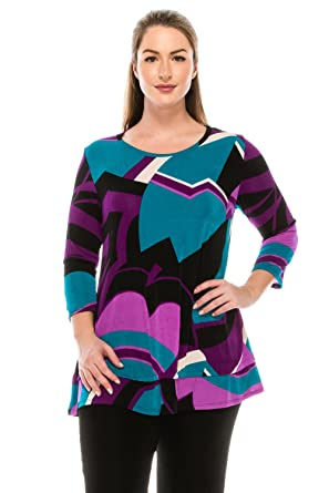 8c737306ace Jostar Women s Stretchy Bottom Layered Top 3 4 Sleeve Print at Amazon  Women s Clothing store