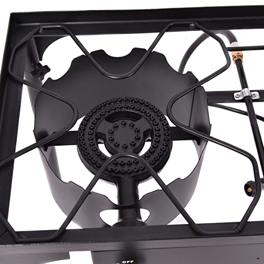 Amazon.com : SpiritOne Double Burner Gas Propane Cooker Outdoor Camping Picnic Stove Stand BBQ Grill Gift Coconut Shell Massage Ball : Sports & Outdoors