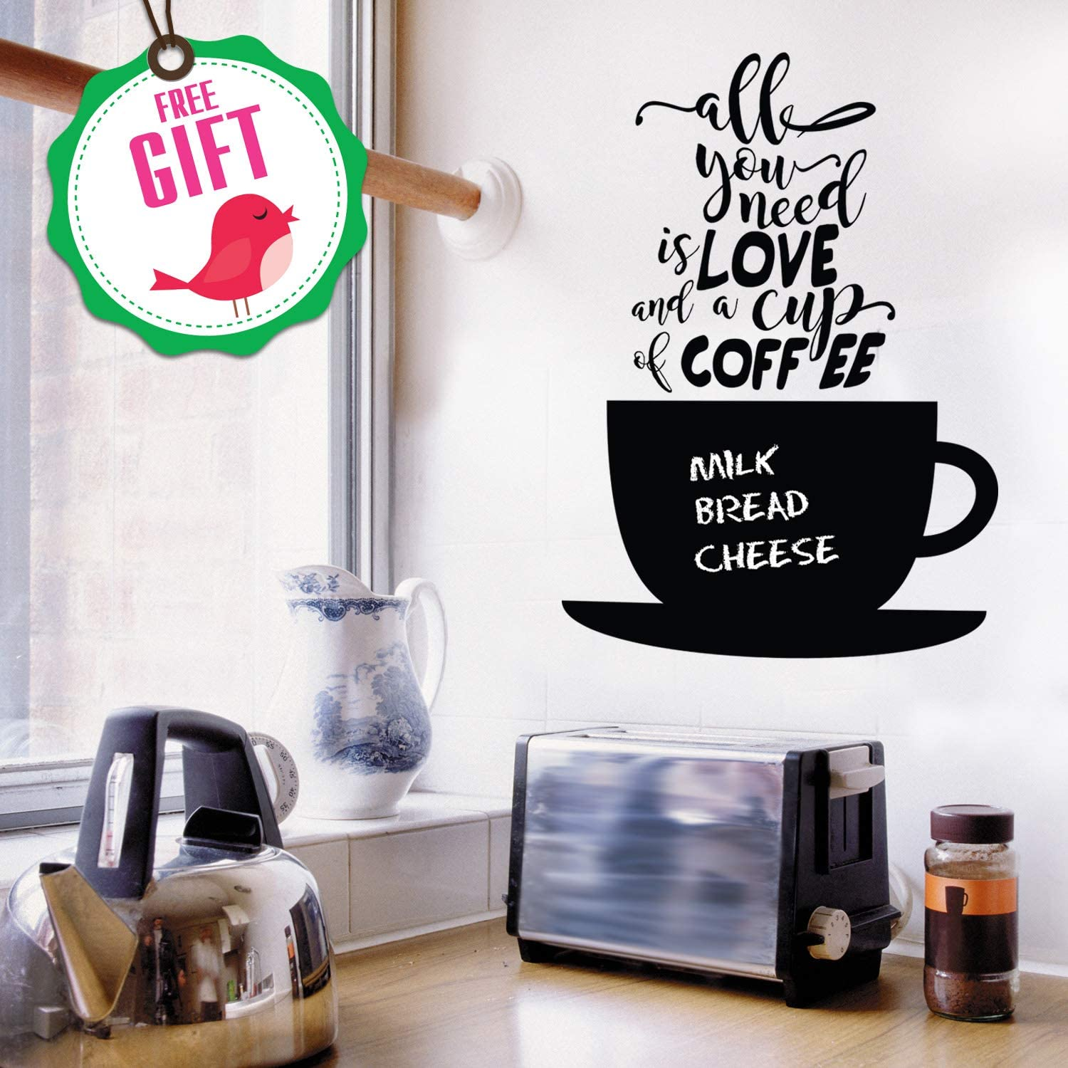 Coffee Cups Wall Stickers Kitchen Quote 2 Stikers Shop Art Decor Bar Decals