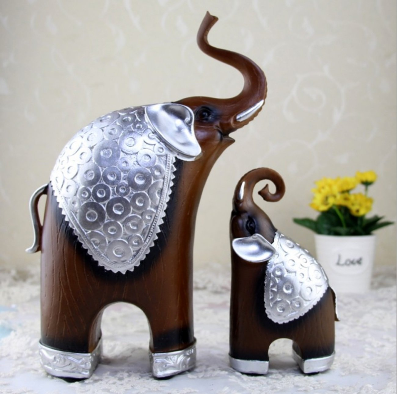 Living Room Home Furnishings Wood grain Elephant Ornaments Creative Resin Decorative Crafts by LHFJ (Image #1)