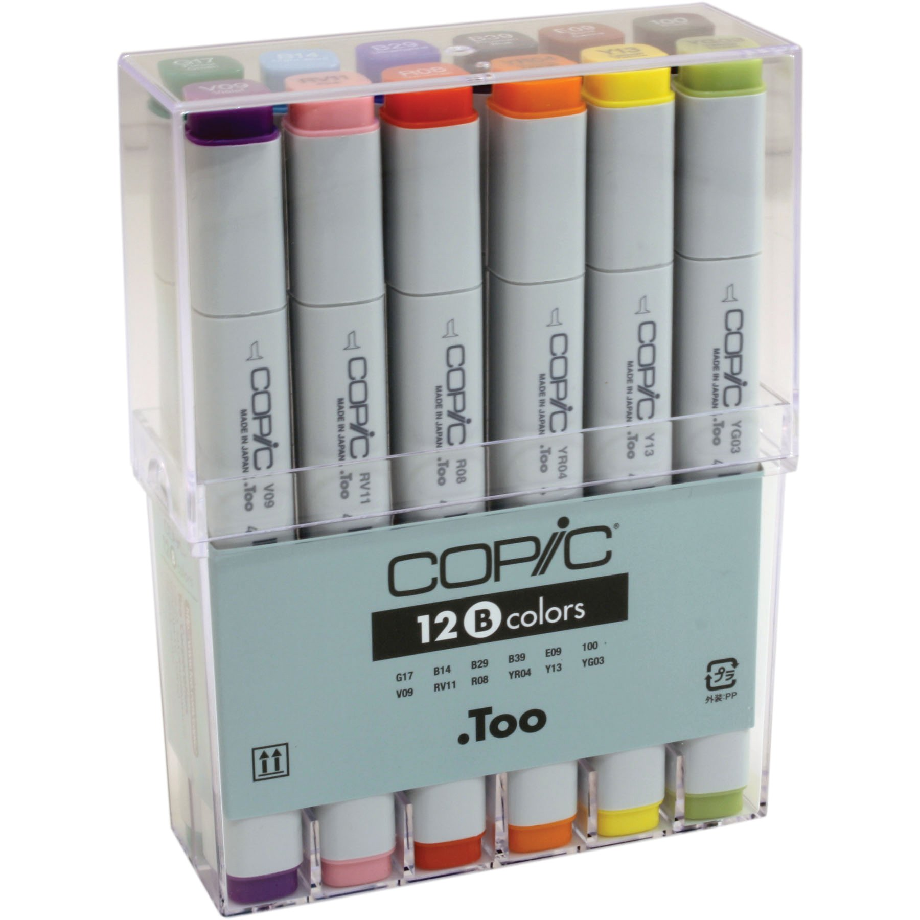 Copic Classic Original Marker Basic Set: Square Barrel, Broad and Fine Nibs, 12 Assorted Colors (CB12)