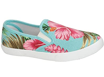 3c0a4ae1a77 Ladies Palm Beach Floral Tropical Print Canvas Slip On Plimsoll Pumps Casual  Trainers Shoes Size 3