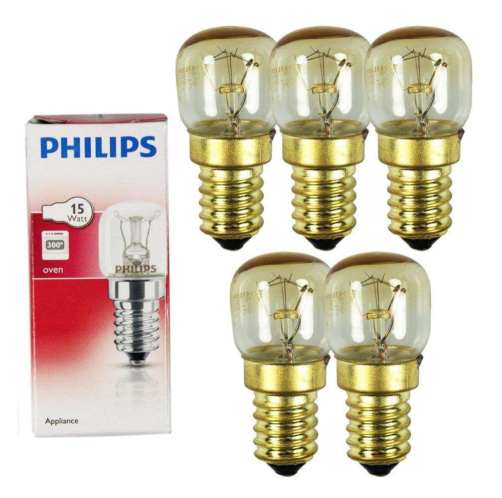 Philips Appliance Oven Bulb 230V E14 SES 57x25 mm 2700K EEK = E 5 Pieces 15 Watt [Energy Class E] T22