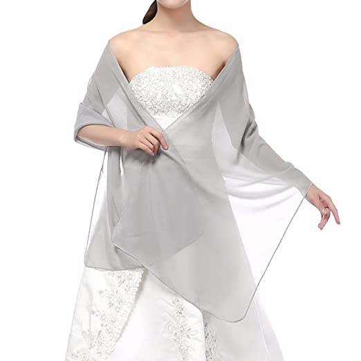 Soffte Cloud Sheer Chiffon Women Evening Shawls and Wraps for Dresses Sliver Grey