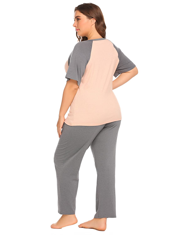 8327ebf491 IN VOLAND Plus Size Women s Boat Neck Short Sleeve Shirt Elastic Waist Long  Pants Sleepwear Pajamas Set at Amazon Women s Clothing store