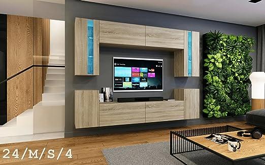 HomeDirectLTD Moderno Conjunto de Muebles de salón Concept 24, Muebles para Sala de Estar, Modernos Muebles modulares con Iluminación LED Opcional (24_HG_W_2, LED Azul): Amazon.es: Hogar