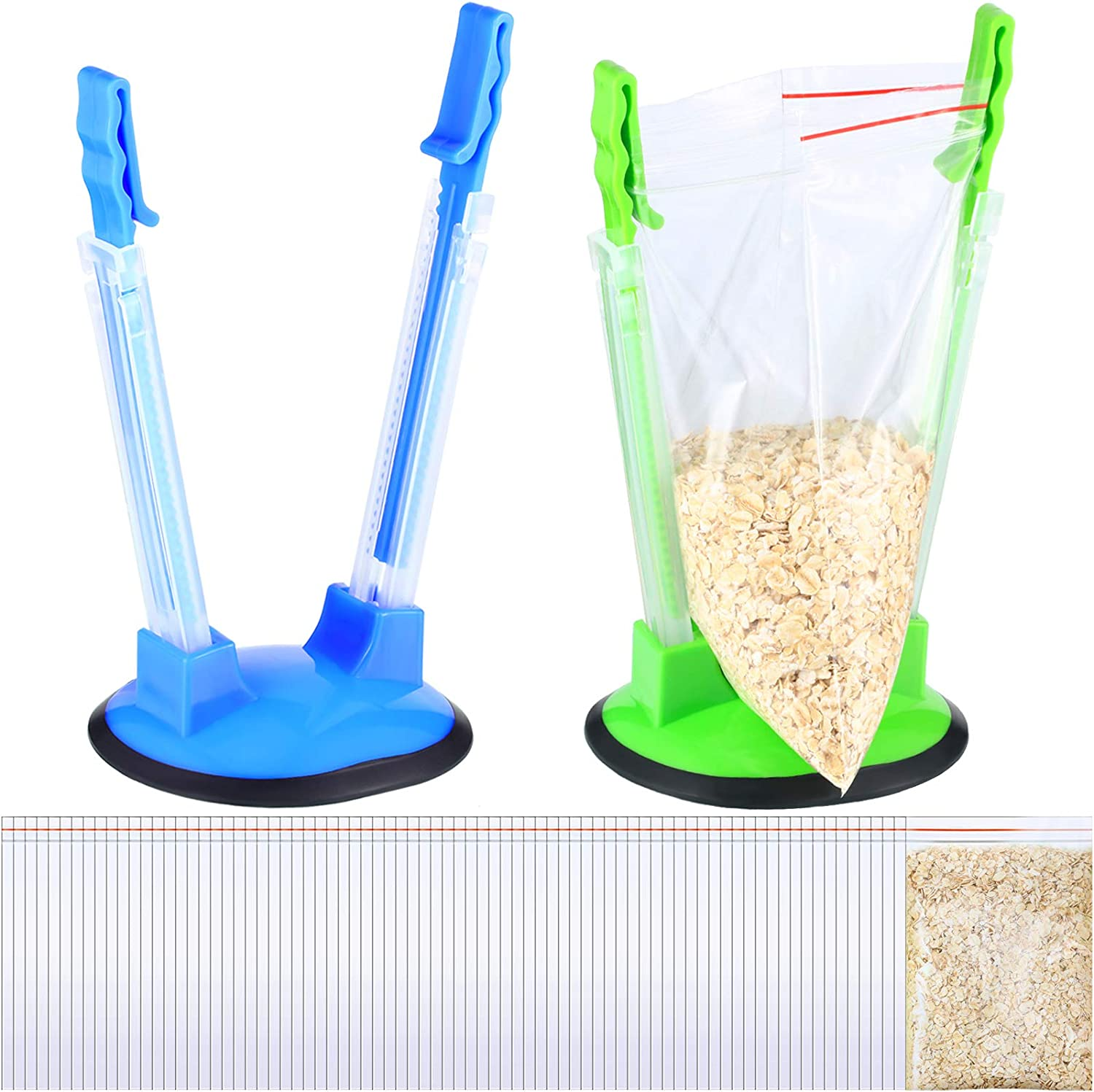 102 Pieces Baggy Rack Stands and Transparent Self Sealing Bags, Include 2 Baggy Rack Holder for Food Prep Bag and 100 Self Sealing OPP Food Plastic Bags for Food Storage Meal Planning Bag Shelves