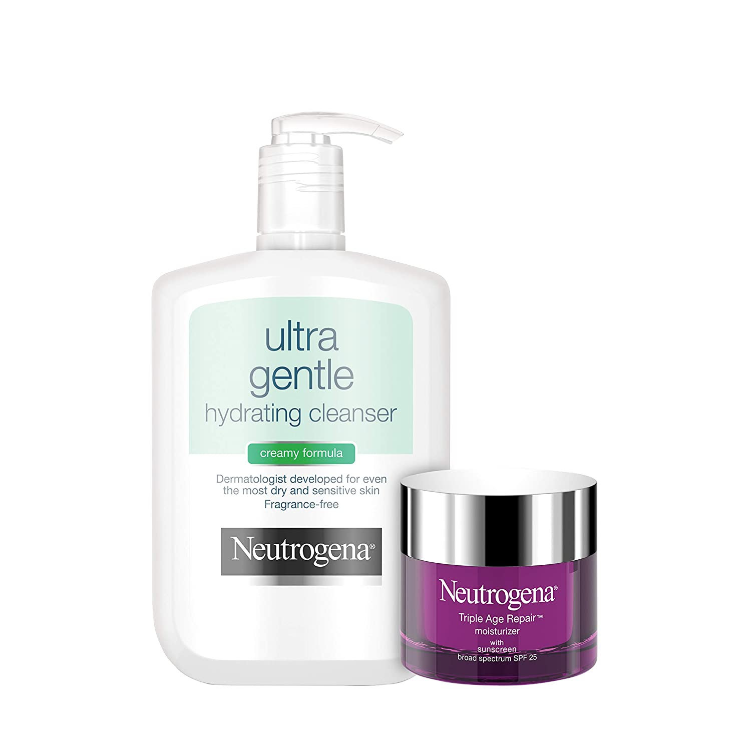 Neutrogena Ultra Gentle Hydrating Daily Facial Cleanser for Sensitive Skin Face Wash, 12 fl. Oz With Triple Age Repair Anti-Aging Daily Facial Moisturize 1.7 oz