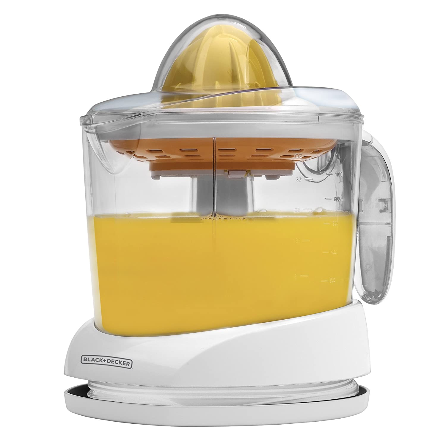 Gourmia EPJ100 Electric Citrus Juicer Stainless Steel 10 QT 160 Watts Rubber Handle And Cone Lid For Easy Use One-Size-Fits-All Juice Cone For Easy Storage.