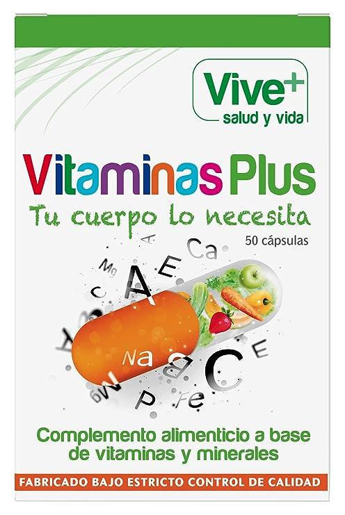 Vive+ Vitaminas Plus, Suplemento Alimenticio - 2 Paquetes de 50 Cápsulas