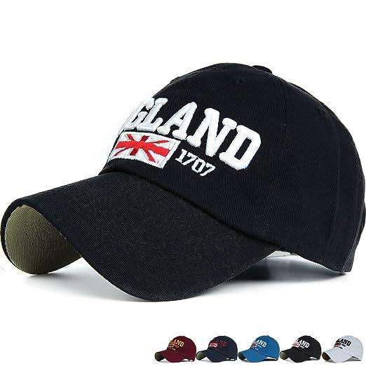 c54157c8eb3 Amazon.com  Rayna Fashion Union Jack England Flag Curved Brim Baseball Cap  Unstructured Dad Hat Adjustable Black  Clothing