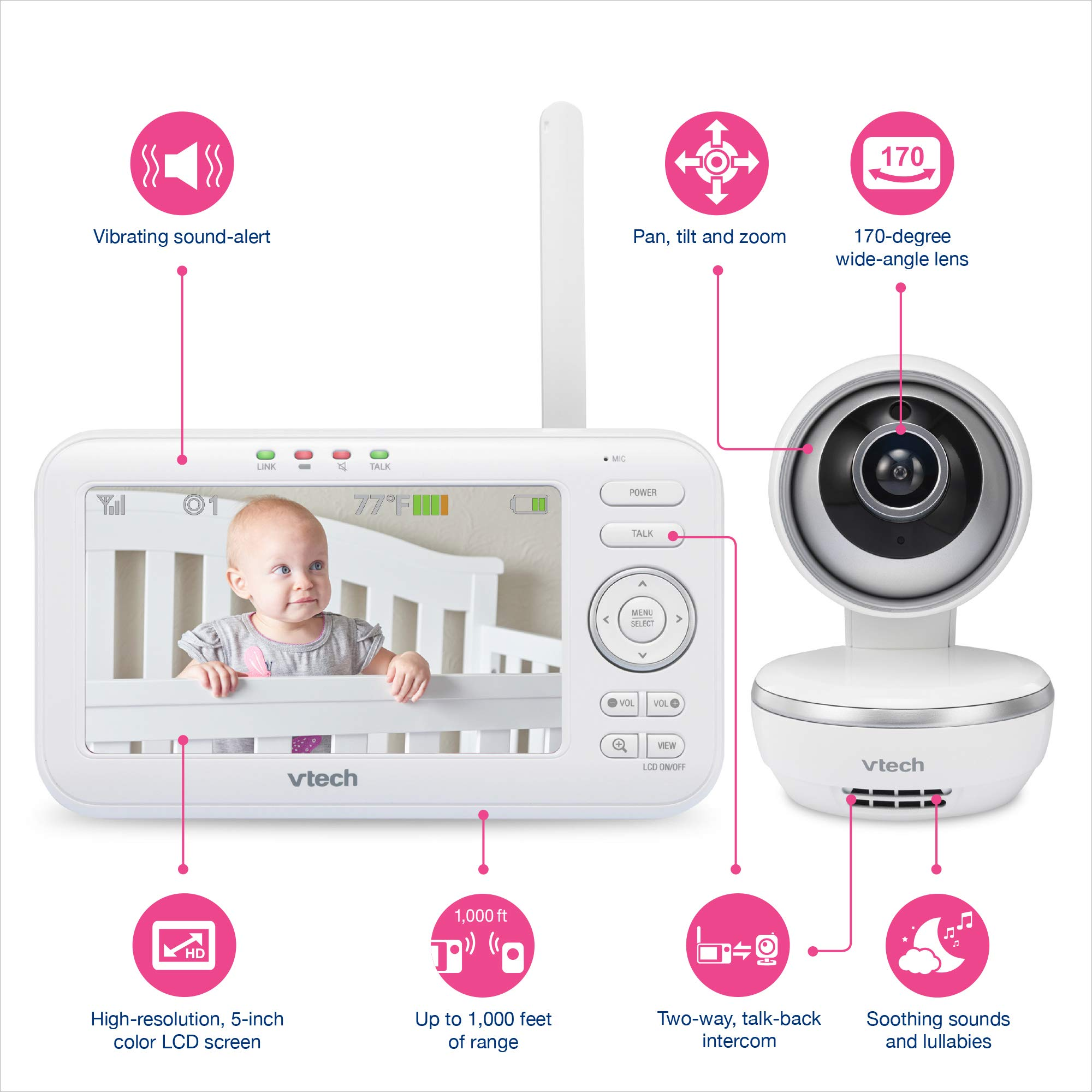 "VTech VM5261 5"" Digital Video Baby Monitor with Pan & Tilt Camera, Wide-Angle Lens and Standard Lens, White by VTech (Image #9)"