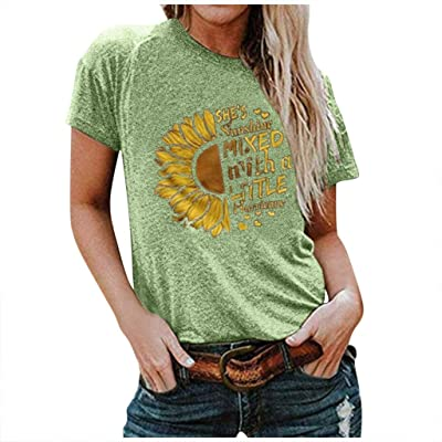 Xinantime Womens Letter Printed Loose Shirts Casual O-Neck Sunflower Printing Short Sleeve Slim Tee T-Shirt: Clothing