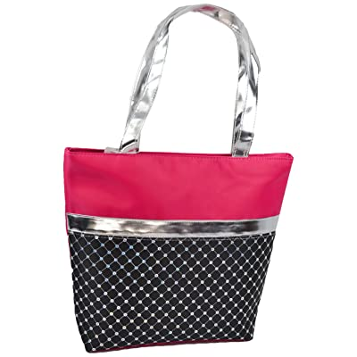 1PerfectChoice Girl's Dance Bag Laser Sequined With Silver Metallic, Fuchsia/Black