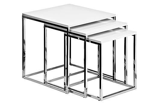 13 opinioni per Premier Housewares Set di 3 tavolini da salotto con telaio cromato, 42 x 40 x 40