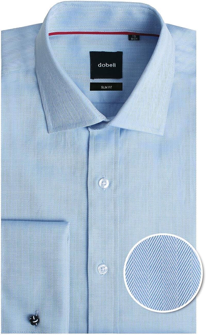 Camisa Azul Claro de Espiga Entallada con puño Doble 100% algodón de Dobell-41: Amazon.es: Ropa y accesorios
