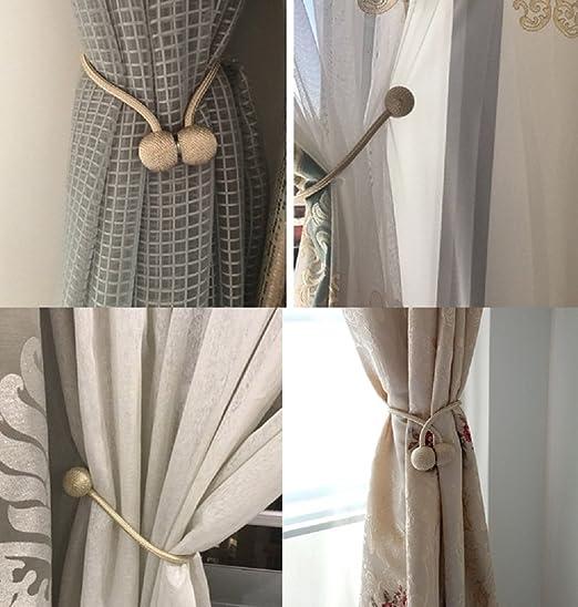 Home Office Decorative Drapes Weave Holdbacks.1 Pair. Silvery Whispex Window Magnetic Curtain Tiebacks.European Style