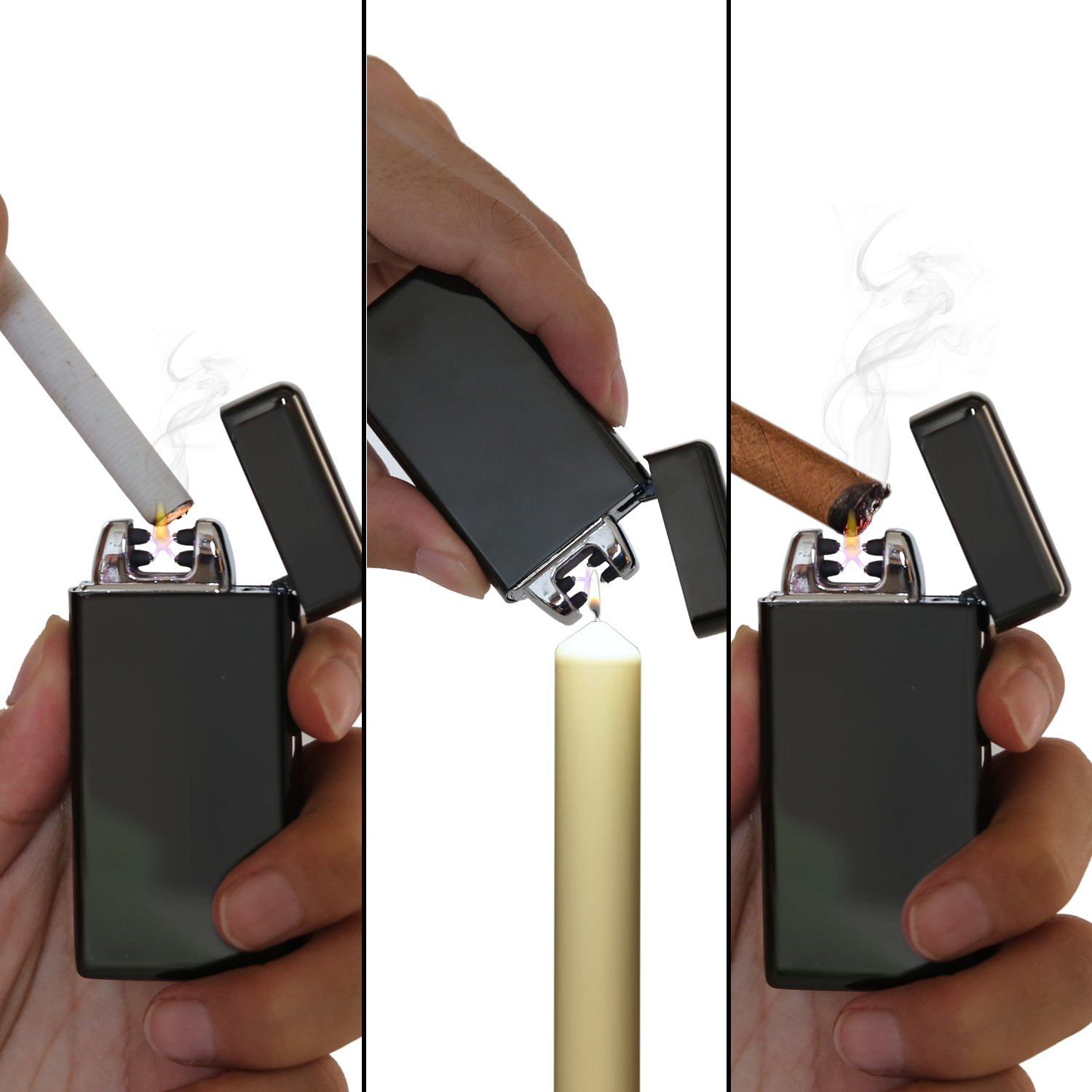 Ruiwo Tesla Coil Lighters Metal Rechargeable Windproof Flameless Electric Dual Arc USB Lighter (Black) by Ruiwo (Image #5)